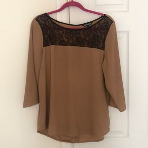 Taupe Express 3/4 Sleeve Blouse